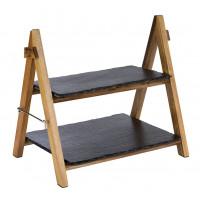 § APS Akazienholz-Serviergestell, 2-stufig, 36,5 x 26,5 cm, H: 34 cm, Naturschieferplatten