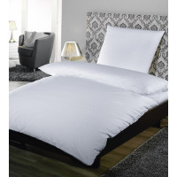 Deckenbezug, Satin Feinstreifen 10 mm, 100% Baumwolle, weiß, 200 x 240 cm SV