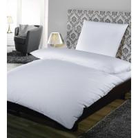Kopfkissenbezug, Satin Feinstreifen 10 mm, 100% Baumwolle, mit Hotelverschluss, weiß, 80 x 80 cm + 20 cm HV