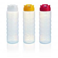 Quetschflasche mit Silikonventil und Maßangabe rot