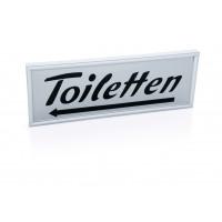 Hinweisschild Toiletten, Linkspfeil