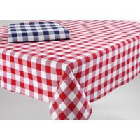 Züchentischdecke, 100 % Baumwolle, rot, Karomuster, 130 x 280 cm