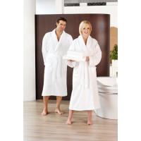 Bademantel Schalkragen, 2 Seitentaschen, 100% Baumwolle, weiß, Größe XL
