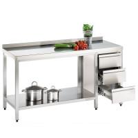 Arbeitstisch - verschweißt - Boden - 90x60x85cm - Schubladenblock links- Auslaufmodell