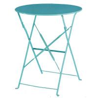 Stahltisch Bolero rund azurblau, klappbar