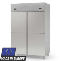 Kühlschrank Profi 1400 GN 2/1 - mit 2 Aggregaten und 4 Glastüren | Kühltechnik/Kühlschränke/Edelstahlkühlschränke