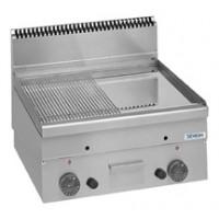 Gas-Grillplatte Dexion Serie 66 - 60/60 1/2 glatt, 1/2 gerillt, verchromt Tischgerät