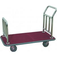 Gepäcktransportwagen, flache Ausführung, Edelstahlrohr, Teppichbelag rot
