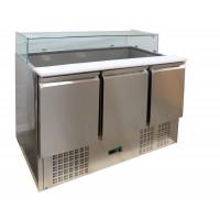 Saladette ECO 1300 mit 3 Türen und Glasaufsatz | Kühltechnik/Saladetten
