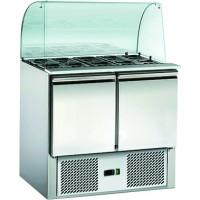 Saladette ECO 900 mit 2 Türen und Glasaufsatz